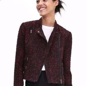 New banana republic motto boucle black red jacket